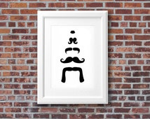 Mustache art print - Hand-drawn Tower of 'staches whimsical black and white ink drawing - Trendy wall decor - Multiple sizes; FREE SHIPPING*