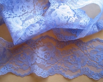 "Scalloped Romantic Lace,  Violet, 3 3/4"" inch wide, 1 yard, For Dolls, Scrapbook, Mixed Media, Home Decor, Apparel, Crafted Gifts"
