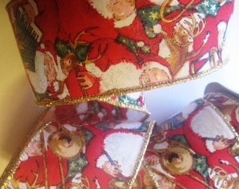 """Musical Santa Wide Wired Ribbon, Multi / Red, 2 1/2"""" inch wide, 1 yard, For Home Decor, Gift Baskets, Victorian & Romantic Crafts"""