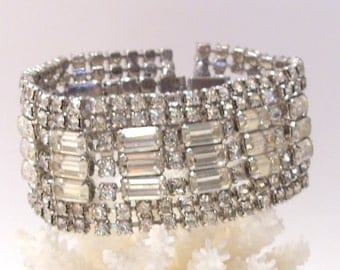 Baguette Rhinestone Bracelet- Glitz for Holidays, Parties, Weddings, Prom or Anytime