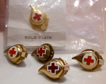Group of Five Vintage Red Cross Donor Pins/Tie Tacs