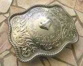 Groom Belt Buckle, Groom Wedding Gift, Bachelor Gift, Country Western Wedding,  Men's Silver Belt Buckle, Custom Bridal Party Gift