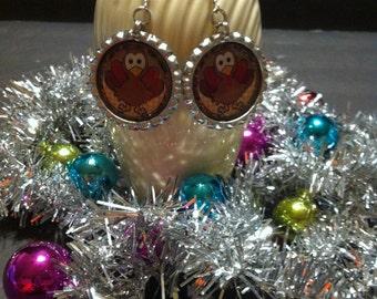 Thanksgiving Turkey Earrings, Silver Tone Earrings,  Dangle Earrings, Thanksgiving Jewelry, Turkey Accessories