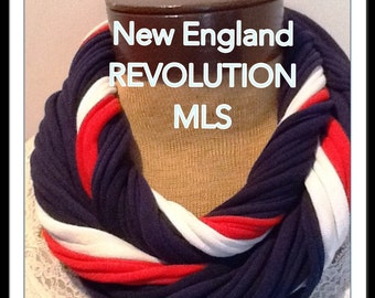 New England Revolution Scarf  MLS  - T Shirt Scarf  Infinity Scarf Belt -