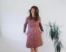 Classic Dress - Cats Print Dress - Mid Length -  Handmade Dress by OffOn