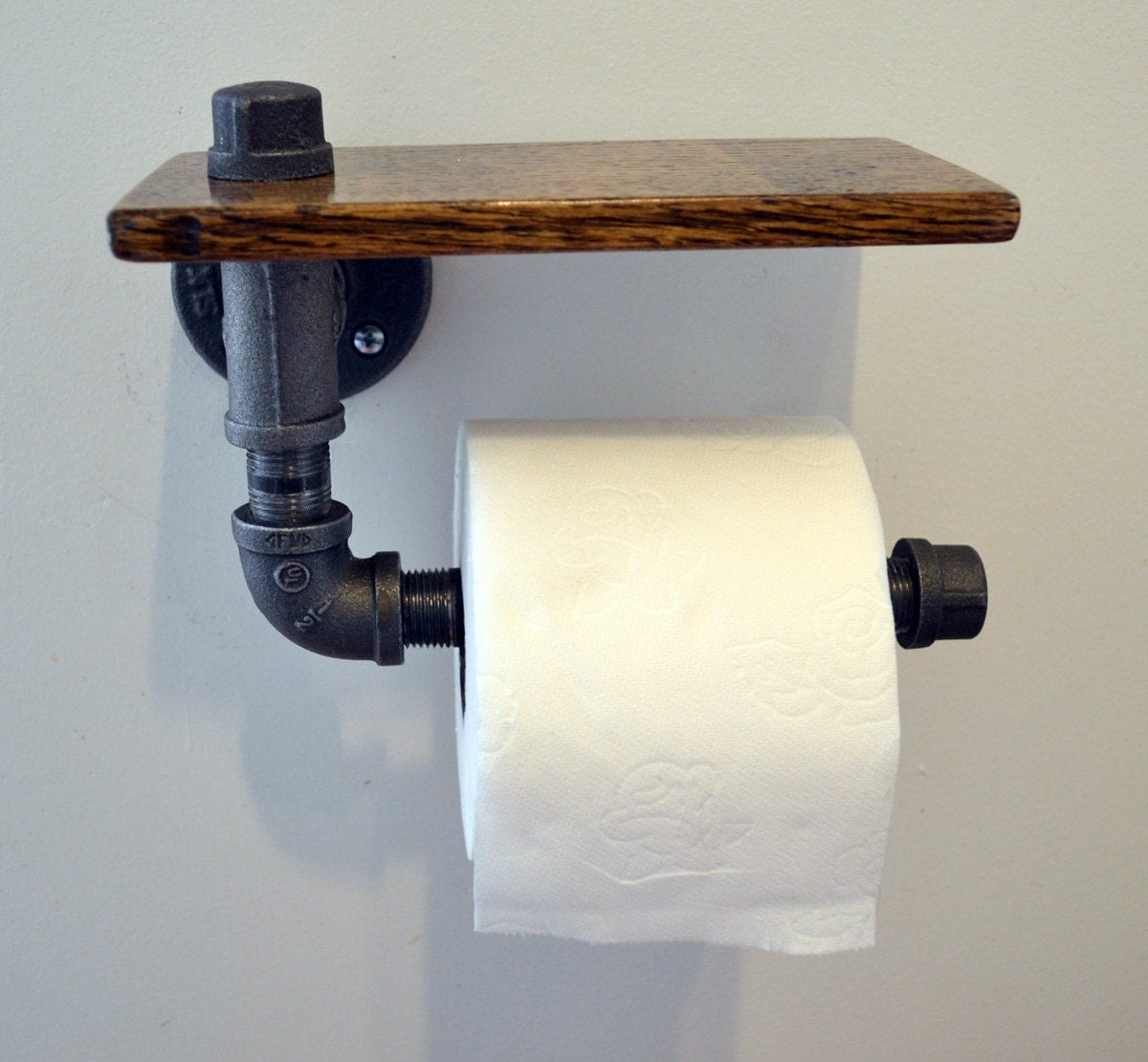 Reclaimed wood and pipe toilet paper holder by turnbullfarms Wood toilet paper holders