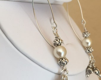 Sterling silver wire drop earrings