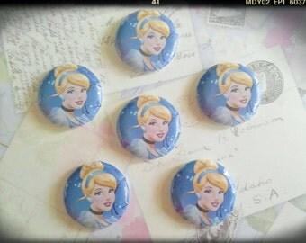Cinderella Buttons - Cinderella Assorted Flatback - 25mm Buttons