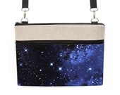 """Lenovo Yoga Cover, MacBook 13"""" Bag w/ strap, Asus ZenBook Padded Cover, Macbook Air Case, Dell XPS Crossbody Bag - night sky with stars"""