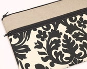 """13 in laptop case, Macbook Air 13"""" sleeve, padded 11 laptop bag zipper pocket, Dell laptop - black and cream floral damask"""