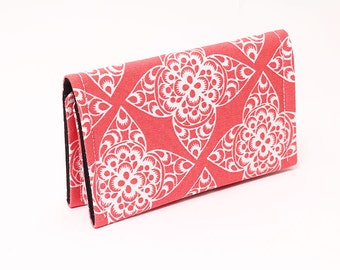 Business card case holder cover wallet, small women's wallet, card organizer, credit card holder - coral red damask white lace