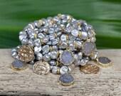DRUZY STACK BRACELETS - pearl bracelets - set of ten boho bracelets - coin charm bracelets - stretch bracelets - bohemian beach jewelry