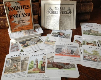1940s Geographical Card Game, The Counties of England, Series no 3 Eastern Counties, Original Box