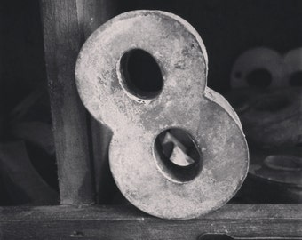 Square Black And White Print Of A Vintage Antique Metal Number 8