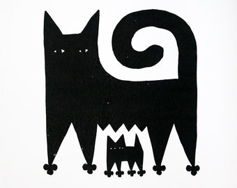 Cat Mother and Kitten, Limited Edition Relief print. Collograph Print.