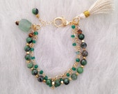 Green Chalcedony, Fuchsite, Aventurine and Gold Vermeil Chain Bracelet