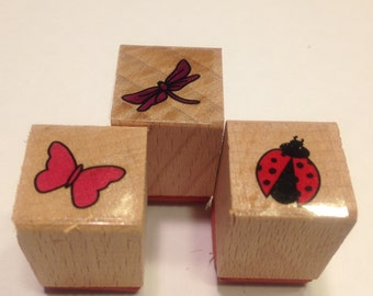 3 piece set of small bugs rubber stamps, 16 mm (A11)