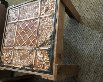 Antique Tin Panel Pallet Side Table