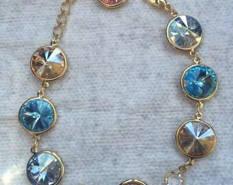 Muliti-Color Swarovski Crystal Bracelet (Pastels)