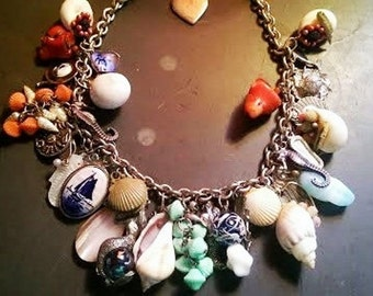 Vintage Mermaid Ocean Goddess Lucky Charm Necklace One of a Kind