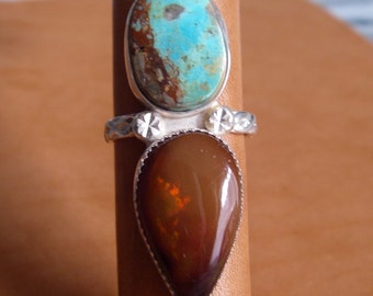Ethiopian Chocolate Opal and Turquoise Ring