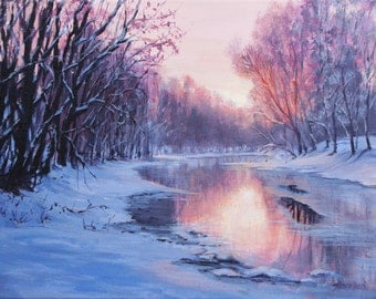 First Light - Original Winter Snow on the river painting