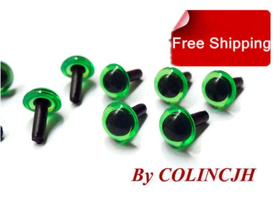 Craft Safety Eyes Amigurumi : 7.5mm 10Pairs green Colored Safety Eyes / Plastic by COLINCJH