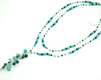 Blue and green turquoise,crystal on silk thread necklace.