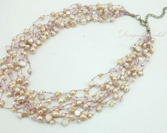 Pink freshwater pearl,rose crystal on silk, necklace.