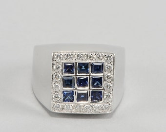 Superb signed Damiani sapphire and diamond signet ring