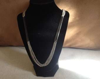 Vintage Silvertone Necklace with Black Plastic Design