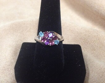 Vintage 925 Sterling Silver Ring with Purple, Pink, and Blue Gemstone Design, Size 8.75