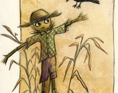 Scarecrow and Crow - Fine Art Print