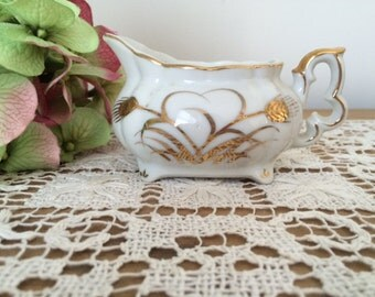 SALE!!!-Vintage Lefton Gold Wheat Creamer #20120, Hand Painted Lefton China