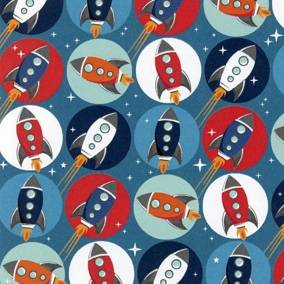 Wilmington fabric 1 5 yd rocket ships for Rocket fabric
