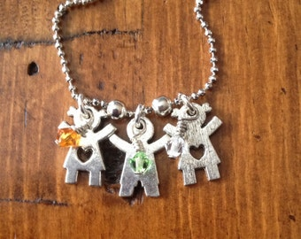 Mom Kids Birthstone Family Necklace