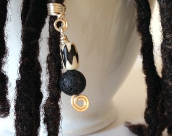 Black and White Hair Bead Tube Dread Locs Dreadlock Jewelry