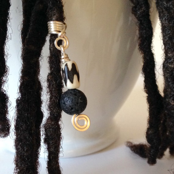 Black and White Hair Bead Tube Dread Locs Dreadlock Jewelry Natural Hair Gift