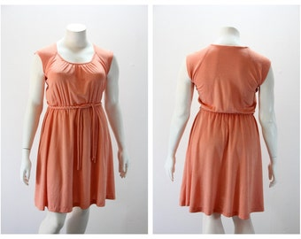 XXL Vintage Dress 1970s Coral