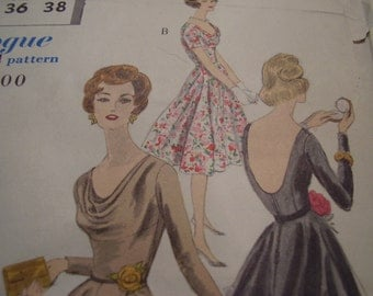 Vintage 1950's Vogue 9825 Dress Sewing Pattern, Size 16, Bust 36