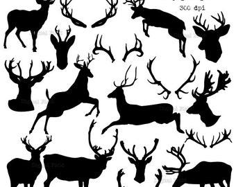 Deer silhouette clip art set  - reindeer printable digital clipart - instant download