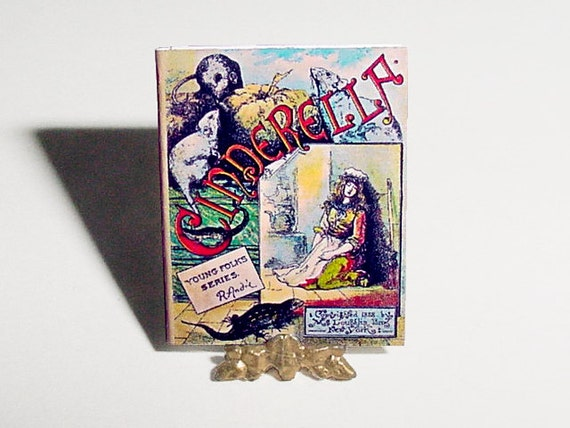 Dollhouse Miniature Book CINDERELLA - McLoughlin Bros - Miniature Dollhouse Childrens Fairy Tale Story Book, Nursery Accessory