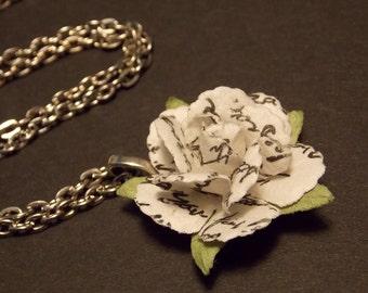 Love Poem Paper Rose Necklace