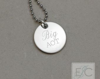 "Big sorority engraved necklace, .625"" pendant"