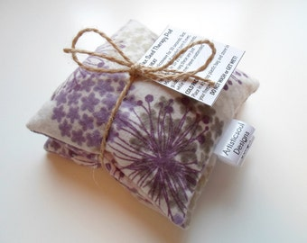 Flax Seed Pod Set, Hot & Cold Therapy, Lavender Flower Print