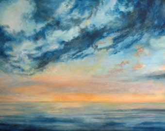 Blue and Peach Sky with Water  1-- Fine Art Print