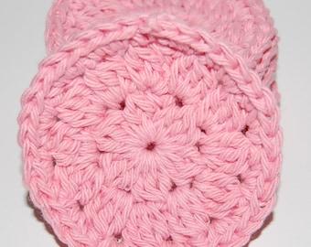 Set of 6 Pink Crochet Face Scrubbies/Facial Scrubbies/Cotton Pads/Cleansing Pads - 100% Cotton
