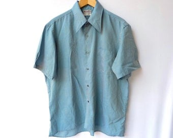 Mens's Vintage Blue Shirt - Rockabilly / Mod 60s - Short Sleeves - L / XL