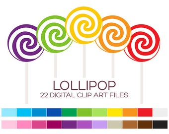Digital Lollipop Clipart for Personal & Commercial Usage - 22 digital lollipops / 2.5x6 inches - A00005