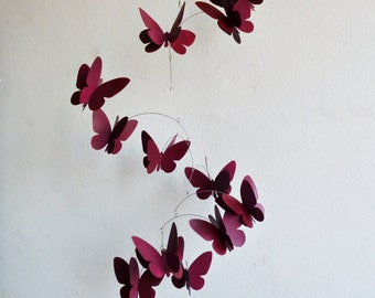 3D butterflies mobile, Wine color, Hand painted hanging mobile, Kinetic home decor
